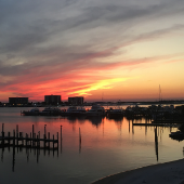 Picture of the Destin Harbor at Sunset
