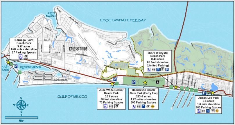 A picture of map of Destin showing public beach parks and trails