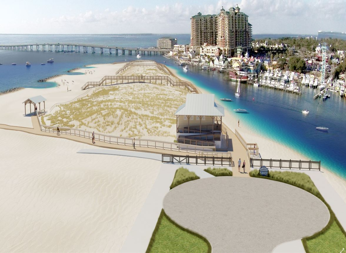 A picture of Norriego Point recreation project with the boardwalk, bathrooms, dune crossovers